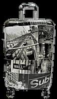 Чемодан дорожный пластик (размерный ряд) Америка ч/б Ч31