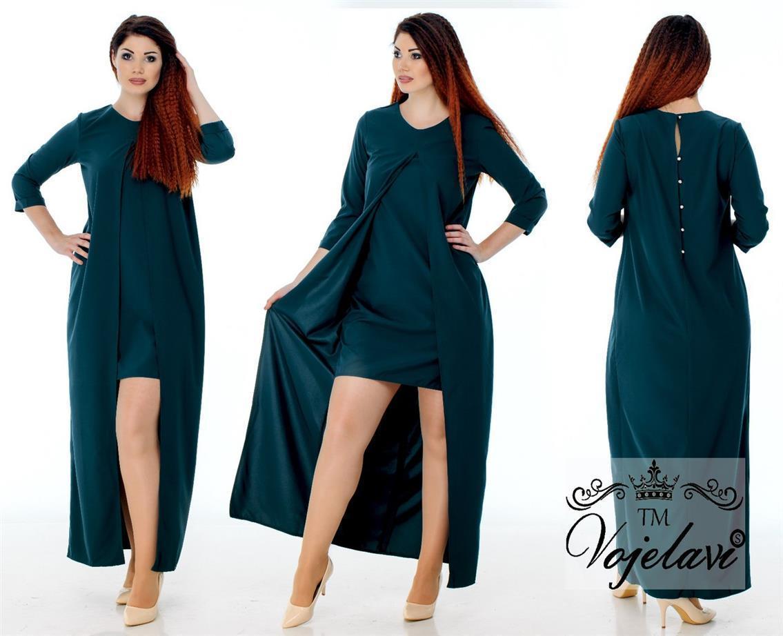 Платье женское батальное с разрезом 48-54 разные цвета.