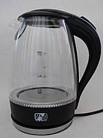 Электрочайник стеклянный с Led подсветкой Promotec PM-810 на 1.7л. черный