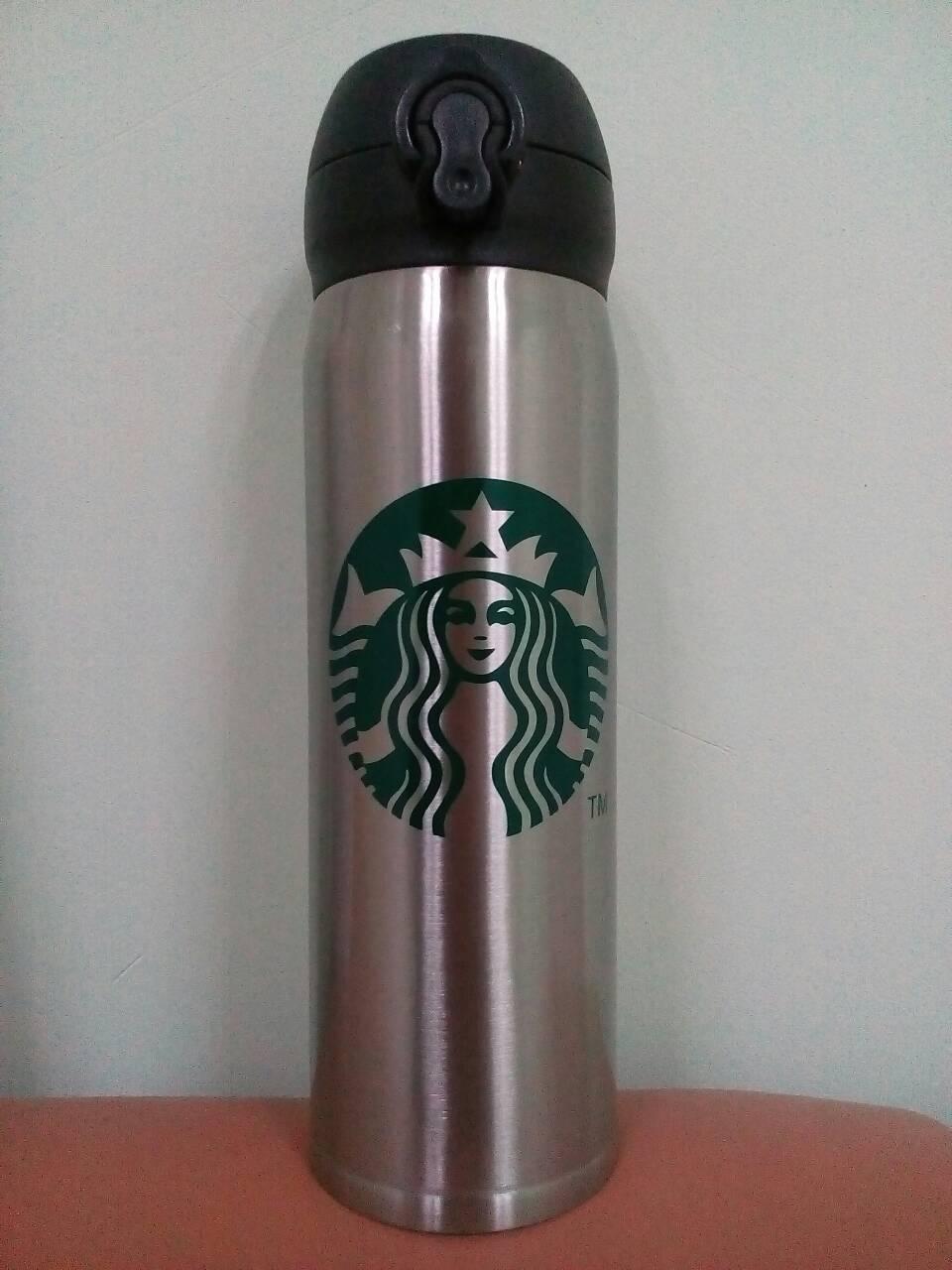 Термос Starbucks 480 мл (MH500), стальная с лого, фото 1