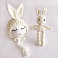 Реквизит для фотосессии новорожденных вязанная шапочка и зайчик