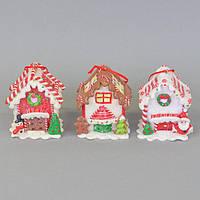 """Новогодний декор """"Пряничный домик"""" 3 шт. (8*7*6  см) с диодной подсветкой"""