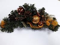Ветка из искусственной хвои с украшениями в золотом цвете длин.46см