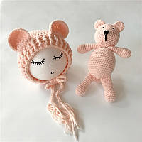 Реквизит для фотосессии новорожденных вязанная шапочка и мишка