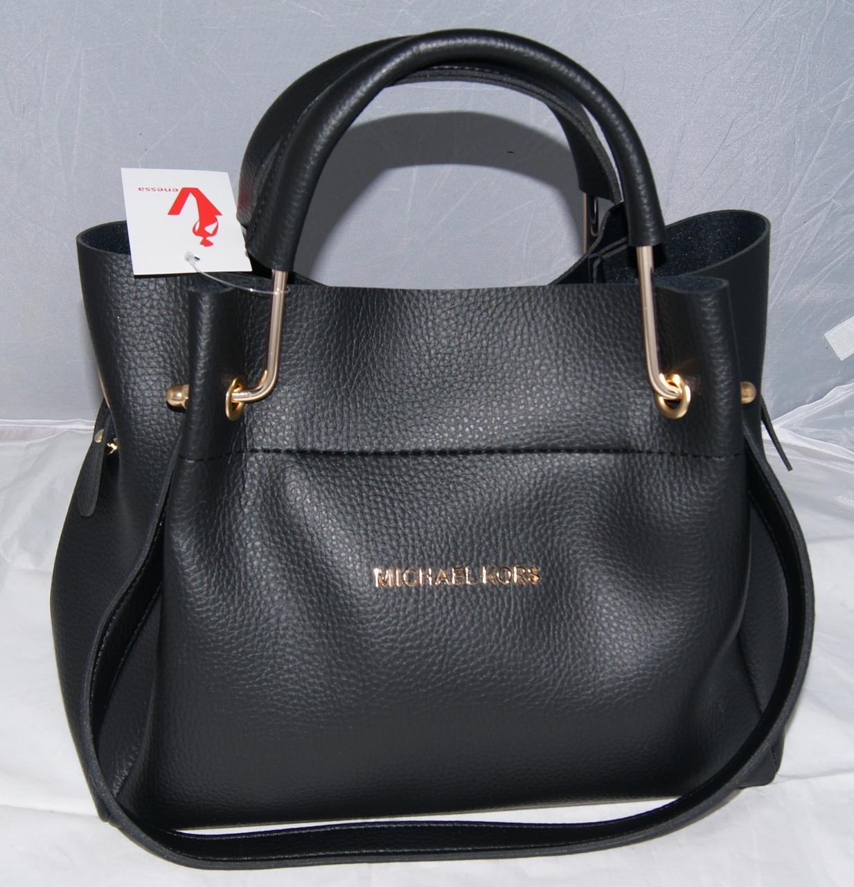 Женская черная mini сумка-шоппер Michael Kors (Майкл Корс) с  отстёгивающейся косметичкой 7cfc51a1145
