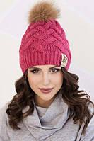 Женская шапка «Мэгги» с енотовым помпоном