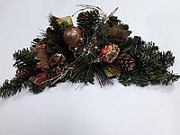 Ветка из искусственной хвои с украшениями в бронзовом цвете длин.46см