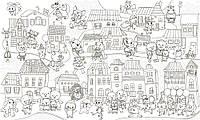 Обои-раскраски Сказочный город с животными 60*100 C-100029, фото 1