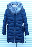 Зимняя женская куртка с натуральным мехом большой размер