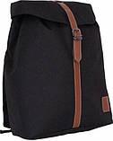 Городской черный рюкзак Bagland с кожзамом 14 л. 38*29*12 см, фото 2