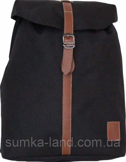 Городской черный рюкзак Bagland с кожзамом 14 л. 38*29*12 см