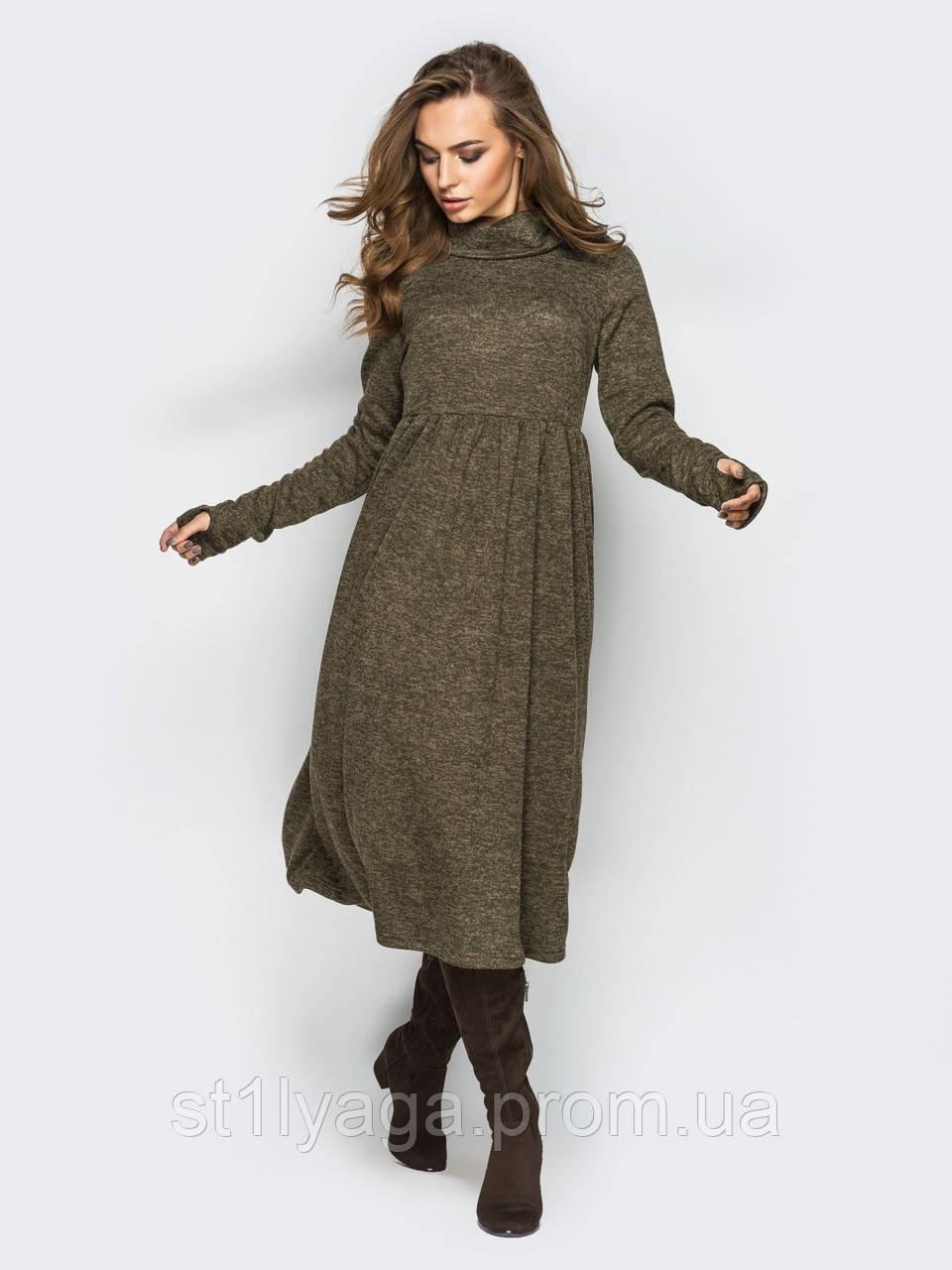 Платье из трикотажа Ангора длиной миди