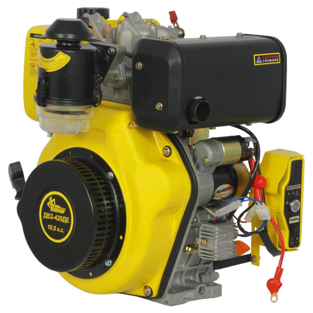 Двигатель дизельный Кентавр ДВУ-420ДЕ (10 л.с., шпонка, вал 25мм, электростарт)