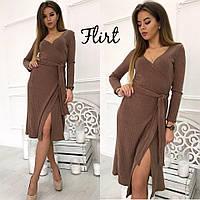 Коричневое платье миди с поясом тв-11007-4