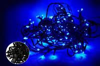 Гирлянда LED 200 синяя на черном проводе