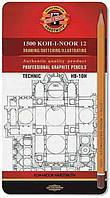 Набор графитных карандашей KOH-I-NOOR 1500 Technic 12 шт НВ-10Н, 1502.I