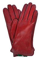 Женские бордовые кожаные  перчатки на плюше