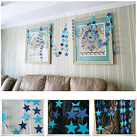 Гирлянда со звездочками для праздника и декора, 4 метра сине-голубая