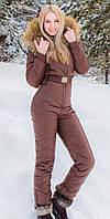 Шоколадно коричневый зимний женский комбинезон в стиле Odri