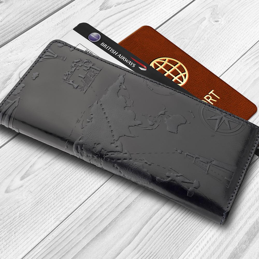 """Темно синій гаманець з натуральної глянсової шкіри на 14 карт, колекція """"7 wonders of the world"""""""