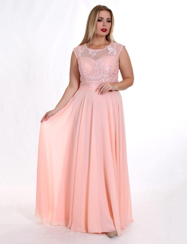 Женское вечернее платье ENIGMA MKENG2133 персиковое макси в пол
