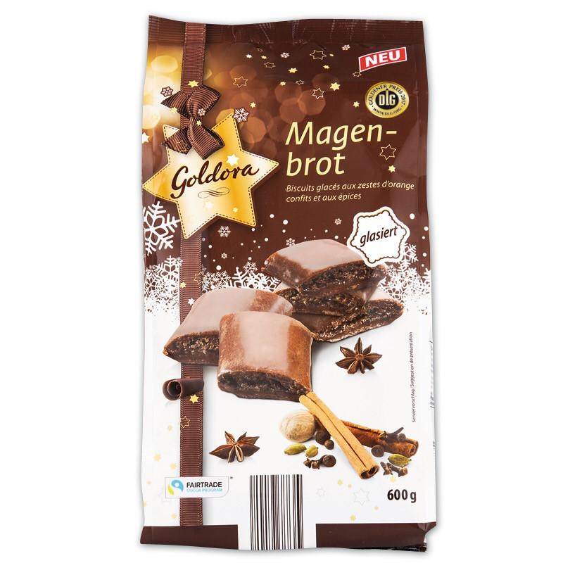 Рождественские пряники Goldora Magenbrot с шоколадом и апельсиновыми цукатами, 600 г.