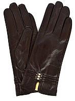 Женские коричневые кожаные  перчатки на плюше