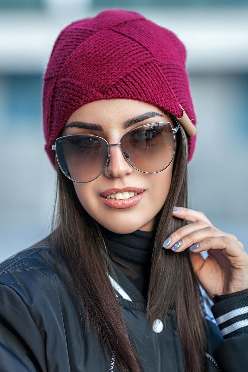 Женская зимняя вязаная шапка из альпаки , женские вязаные шапки оптом от производителя