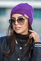 Женская зимняя вязаная шапка из альпаки , женские вязаные шапки оптом от производителя, фото 3