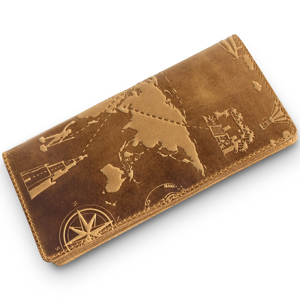 """Вместительный дизайнерский бумажник с натуральной матовой кожи рыжого цвета, коллекция """"7 wonders of the world"""""""