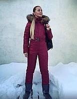 Марсаловый зимний женский комбинезон в стиле Odri