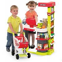 Интерактивный супермаркет Smoby City Shop с тележкой, продуктами и аксессуарами Красный (350211)
