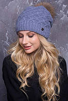 Женская шапка «Жозель» с Енотовым помпоном