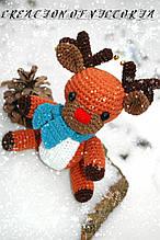 Вязаная игрушка ручной работы Оленёнок Ричард