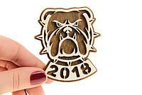 Сувенир деревянный на магните Бульдог 2018