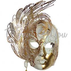 Венецианская маска «Гламур», белая 30х29 см.