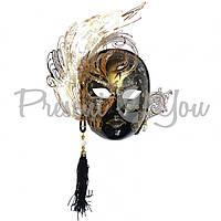 Венецианская маска «Гламур» папье-маше, черная 30х29 см.