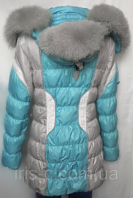 Пуховик женский Lypuly зимний с капюшоном-шапкой, меховой опушкой, размер M/L