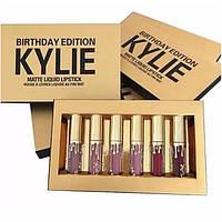 Набор помады Kylie Birthday Edition (6 цветов) (gold), kylie jenner, матовые помады kylie birthday edition