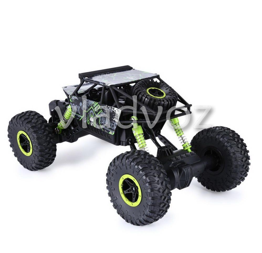 Rock Crawler зелёный на радиоуправлении внедорожник вид с боку