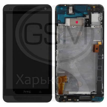 Дисплей (экран) для HTC 802w One M7 DUAL Sim, черный, с тачскрином, с передней панелью, оригинал (Китай), фото 2