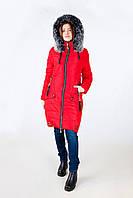 Женская зимняя стеганная куртка мех (красный)