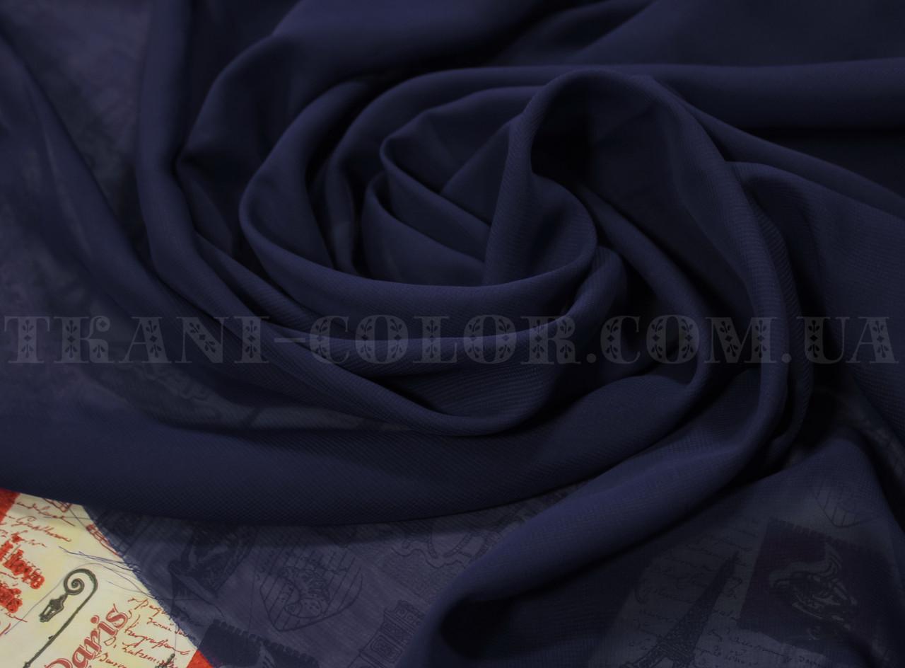 Ткань шифон темно-синий