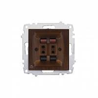 Розетка 2-а аудио Zena модуль темный орех/красное дерево 609-012900-241