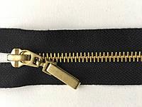 Застежка молния KCC тип 6 метал не полированная зубья золото 65 см брелок Flach разъемная черный цвет тесьмы