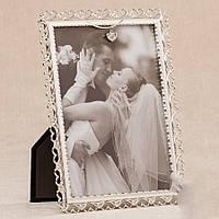Свадебная фоторамка с металлическим плетением, 20х15 см