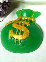 """Глицериновое мыло ручной работы """"Мешочек долларов""""."""