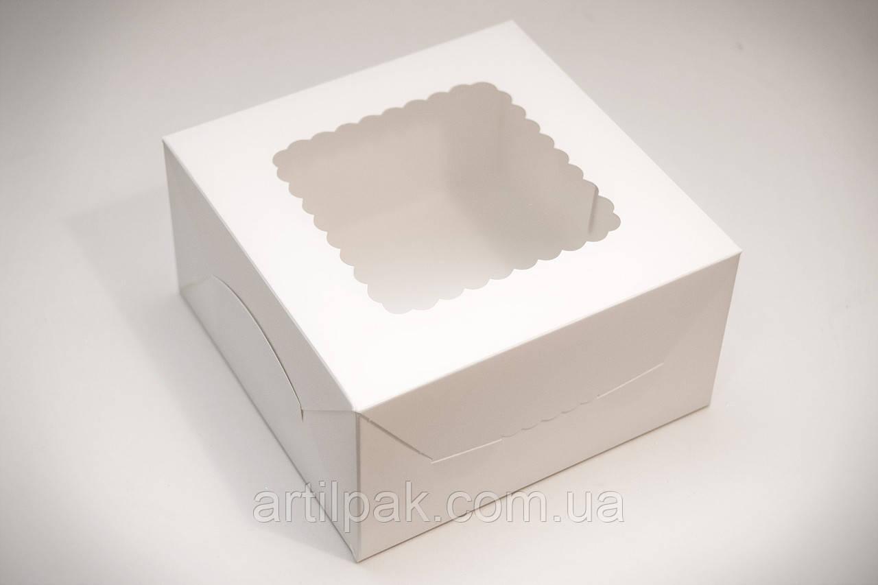Коробка для  десертів та зефіру з вікном 170*170*90 Біла