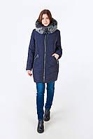 Женская батальная куртка зима силикон 58, Синий