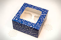 Коробка для 4-х кексів з вікном 170*170*90 Новорічна Синя